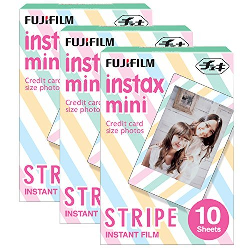 Fujifilm Instax Mini Stripe 30 Film for Film for Fuji 7s, 8, 9, 25, 50s,70, 90 Instant Camera, Share SP1, SP2 Printer ( 30 Shots)