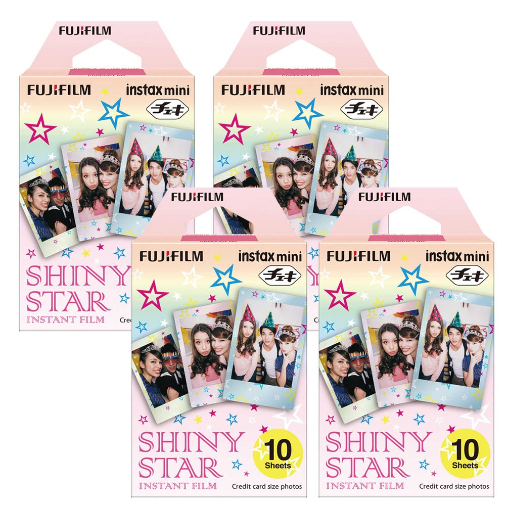 Fujifilm Instax Shiny Star Instant Film 4 Pack For Film for Fuji 7s, 8, 9, 25, 50s,70, 90 Instant Camera, Share SP1, SP2 Printer ( 40 Shots)