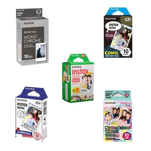 Fujifilm instax mini Film Bundle Consists of Daylight Film 20 Pack, Airmail 10 Pack, Comic 10 Pack, Stained Glass 10 Pack, Monochrome 10 Pack