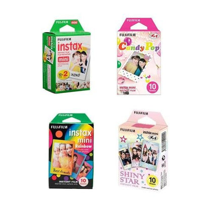 Fujifilm instax mini Film Bundle Consists of Daylight Film 20 Pack, Rainbow 10 Pack, Shiny Star 10 Pack, Candy Pop 10 Pack
