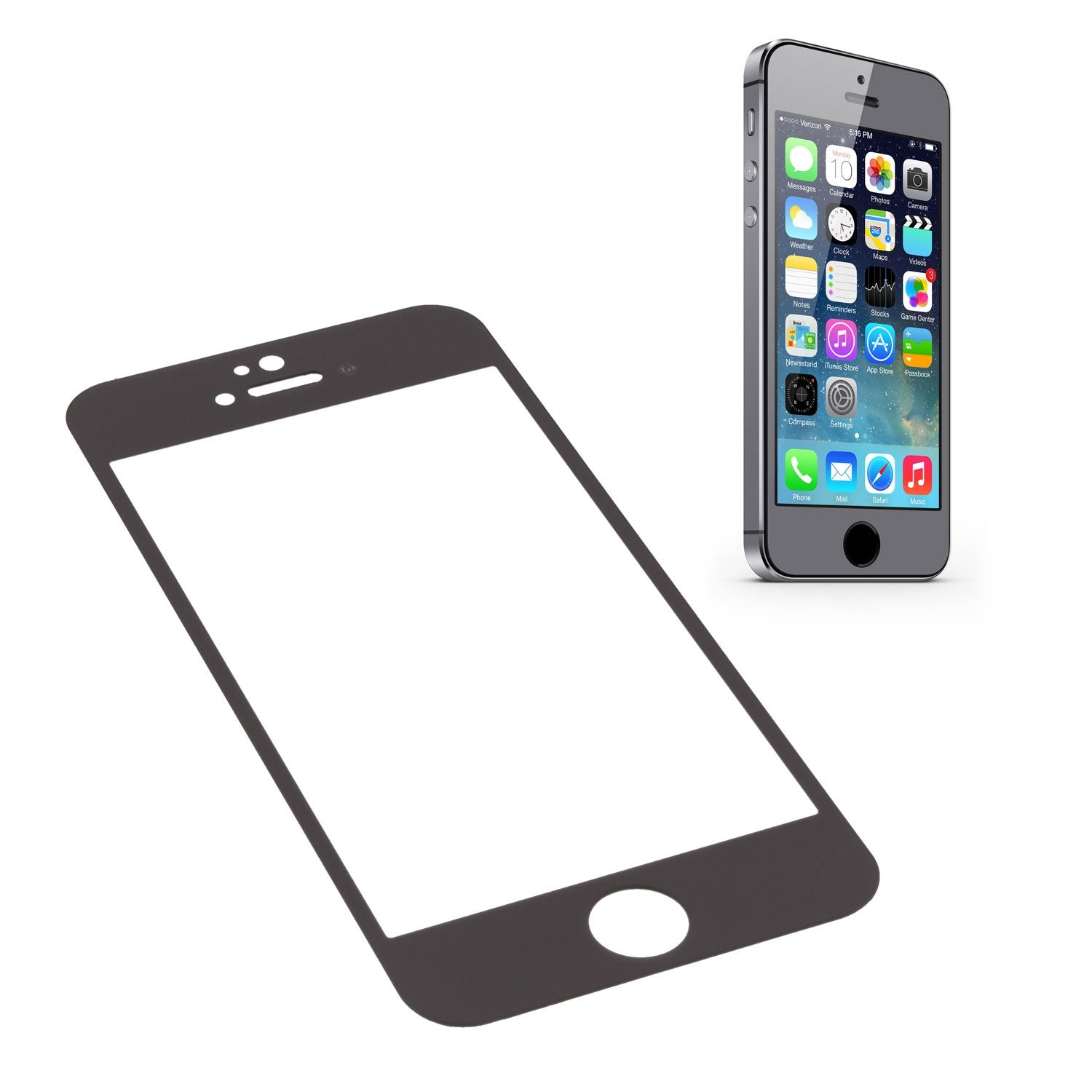 GGS 0.26mm SelfAdhesive Optical Glass LCD Screen Protector for Apple iPhone 5S Space Gray