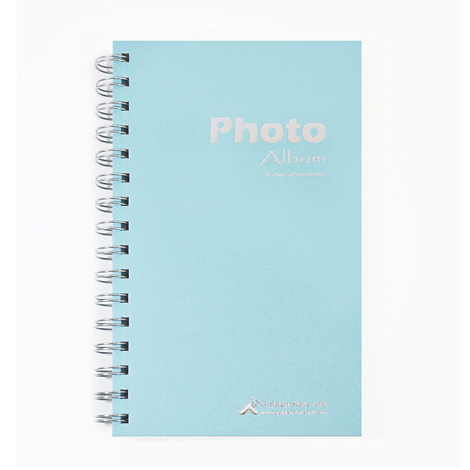 """Golden State Art, Instax Frames Collection,Photo Album Book style 60 Pocket for Fuijufilm Instax Mini 7S 8 70 90 25 50S 8+ Film (Light Blue) """