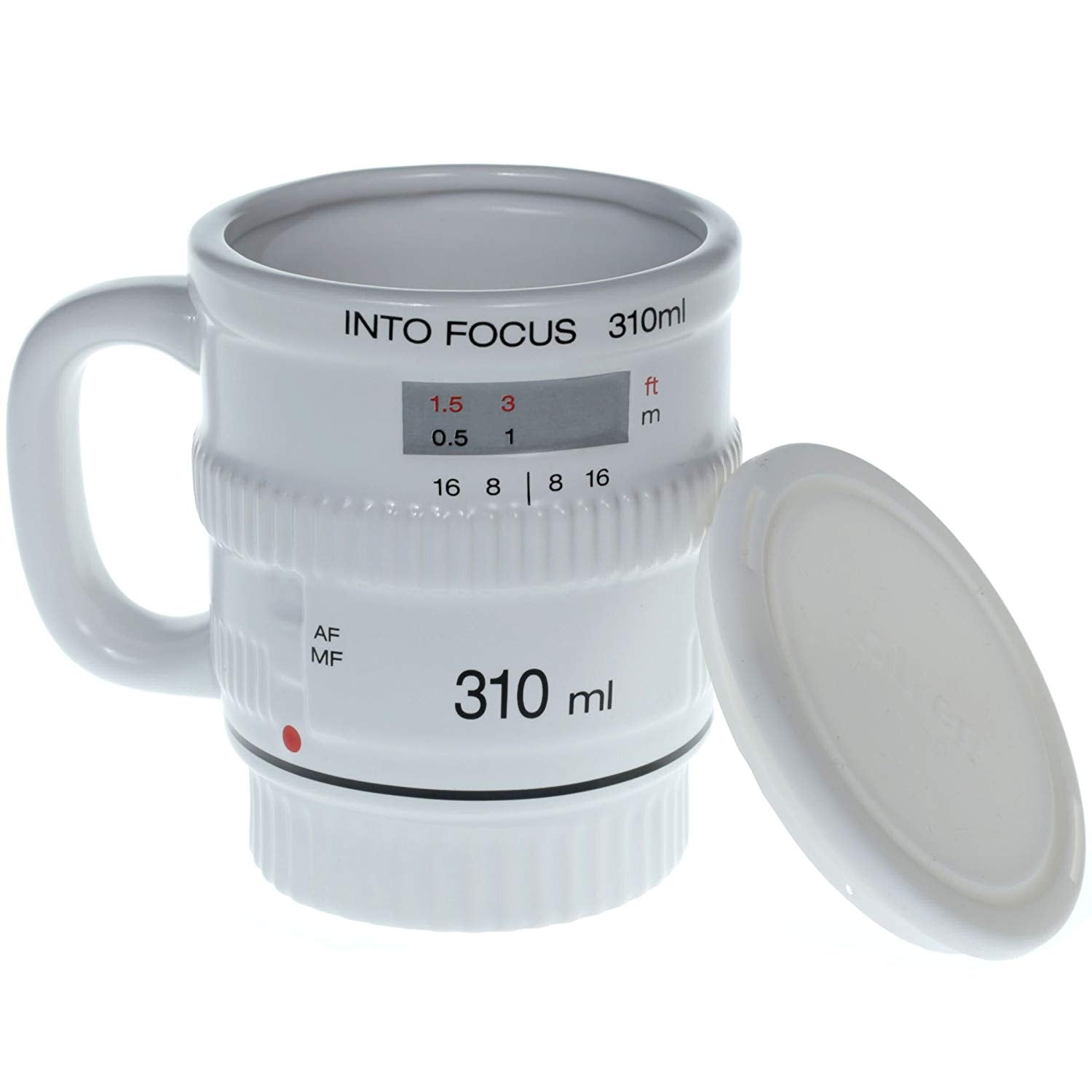 Into Focus Black Camera Lens Mug,White