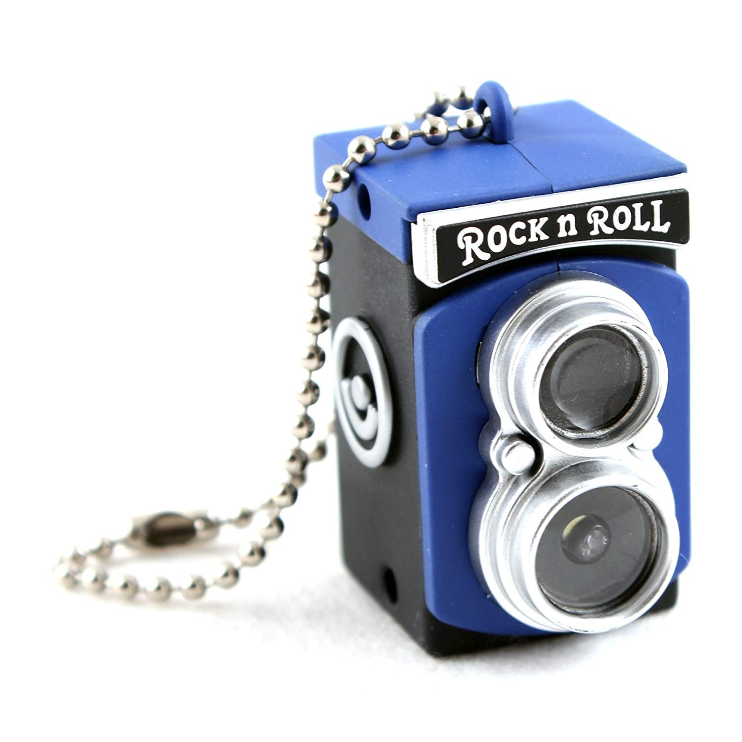 Mini Vintage Camera Toy Keychain Keyring with Flash Torch Charm Decoration BLUE