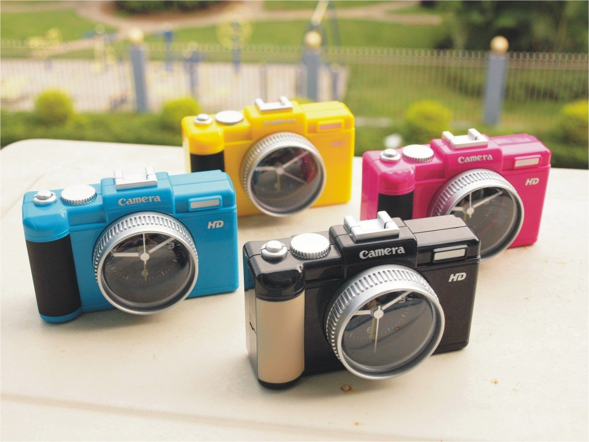 Novelty Canon Shaped Camera Travel Alarm Clock YELLOW