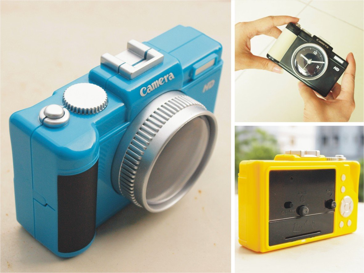 Photo Vatika Novelty Canon Shaped Camera Travel Alarm Clock Blue