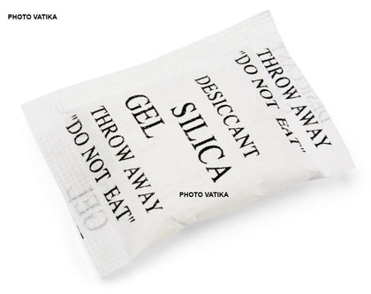 Photo Vatika Silica Gel Desiccants Packets for moisture absorb in Cameras, Lenses, Mobile Phones, Electronics (10 Packs 25 gm Each)