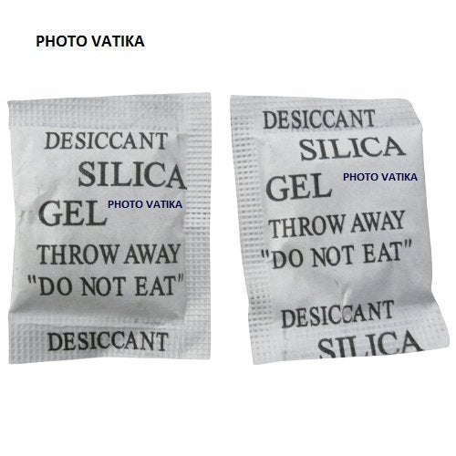 Photo Vatika Silica Gel Desiccants Packets for moisture absorb in Cameras, Lenses, Mobile Phones, Electronics (100 Packs 5 gm Each)