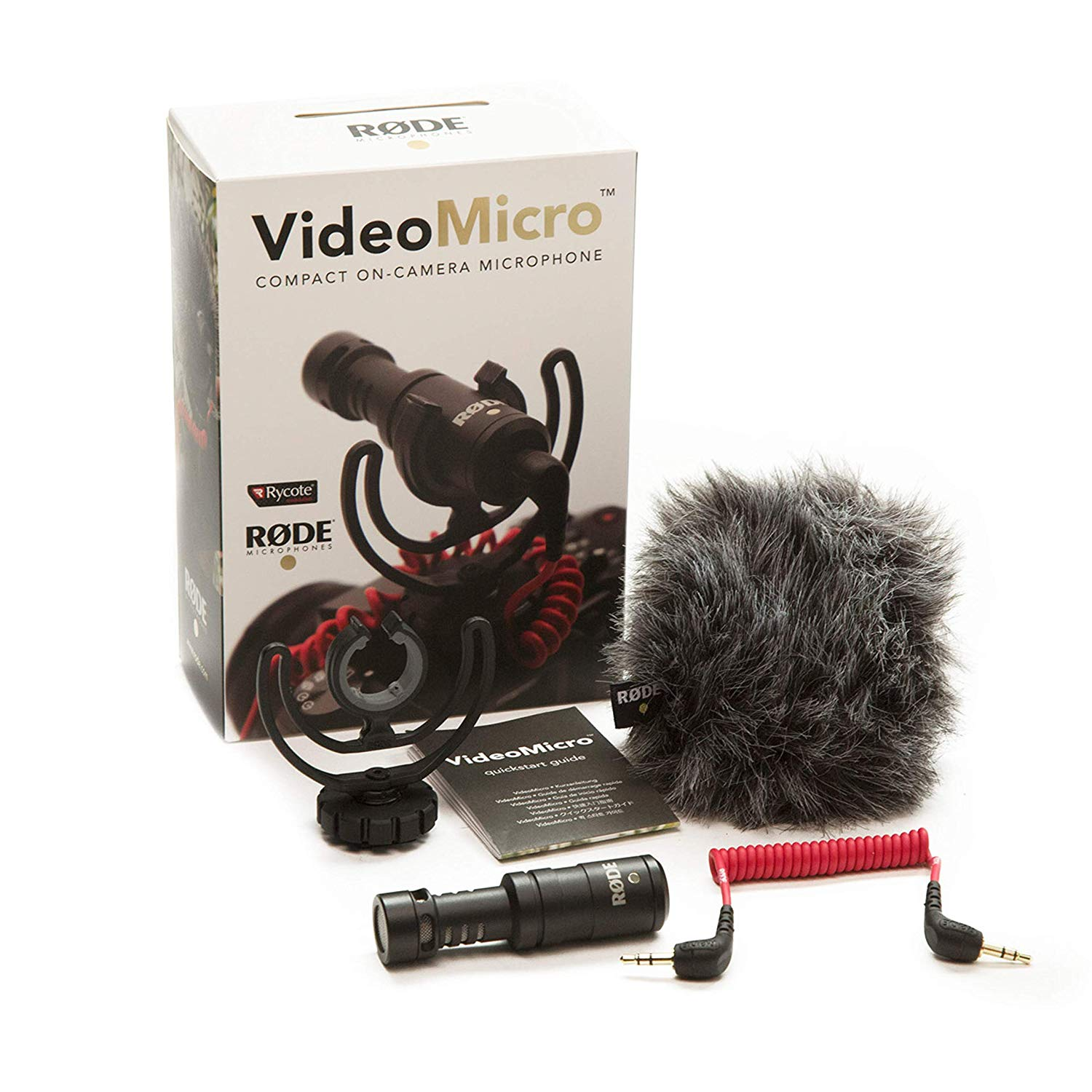 Rode VideoMicro Compact OnCamera Microphone with Rycote Lyre Shock Mount, Black