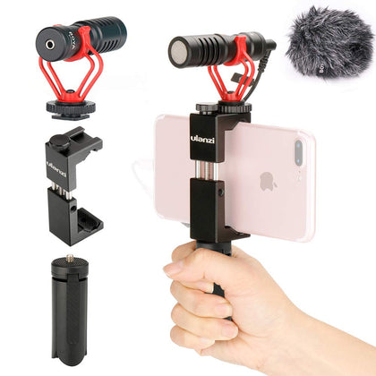 Smartphone Video Kit BOYA BY-MM1 Shotgun Microphone + Phone Clamp mount W Cold Shoe + Foldable Tripod Mini Stand Compatible for iPhone X XS Samsung Holder Kit for Video Shooting Vlogging
