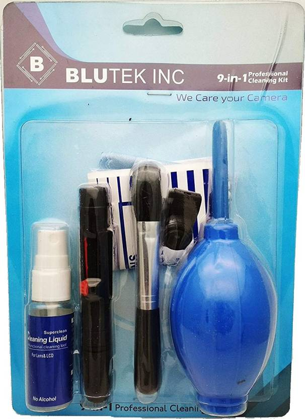 Blutek New Professional Clean Pro 9 IN 1 Multi-Purpose Cleaning Kit for Cameras, Lenses, Binoculars, LCD, Laptops, Desktops, Keyboards, etc, Includes Micro-Fibre Cloth, Brush, Magic Lenspen & Cleaning Tissue  Lens Cleaner (20 ml, 4x4 inch, Pack of 9)