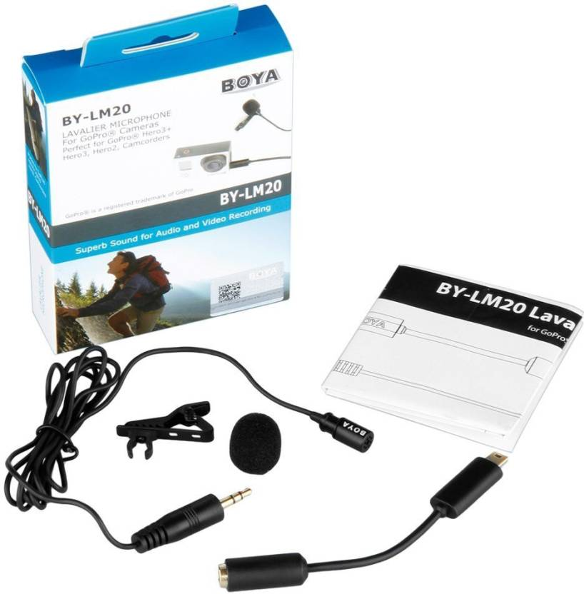 Boya BY-LM20 Lapel Clip-on Omnidirectional Condenser Lavalier Microphone for GoPro Hero 3 3+ 4 4+ Camcorders