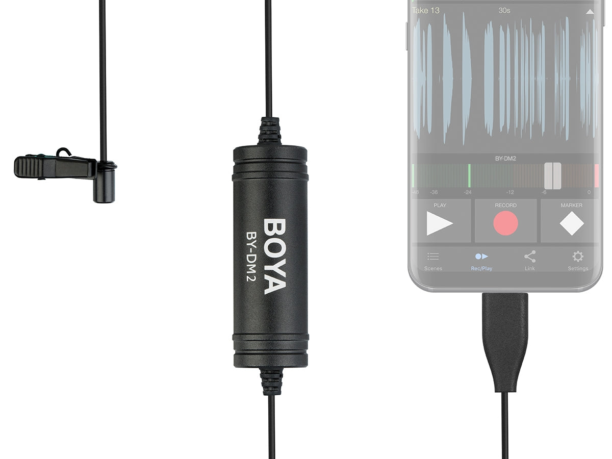 BOYA BY-DM2 Omni-Directional Digital Lavalier Microphone Clip-on Video Recording Mic with Type-C for Android Devices