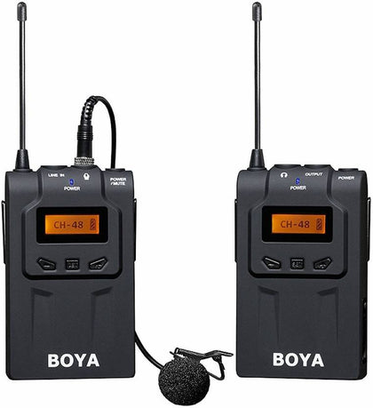BOYA by-WM6 UHF Omni-Directional Lapel Mic System with XLR & 3.5mm Cables for Canon 6D Nikon Camera Sony Camcorders Recorder DV YouTube Video Facebook Livestream