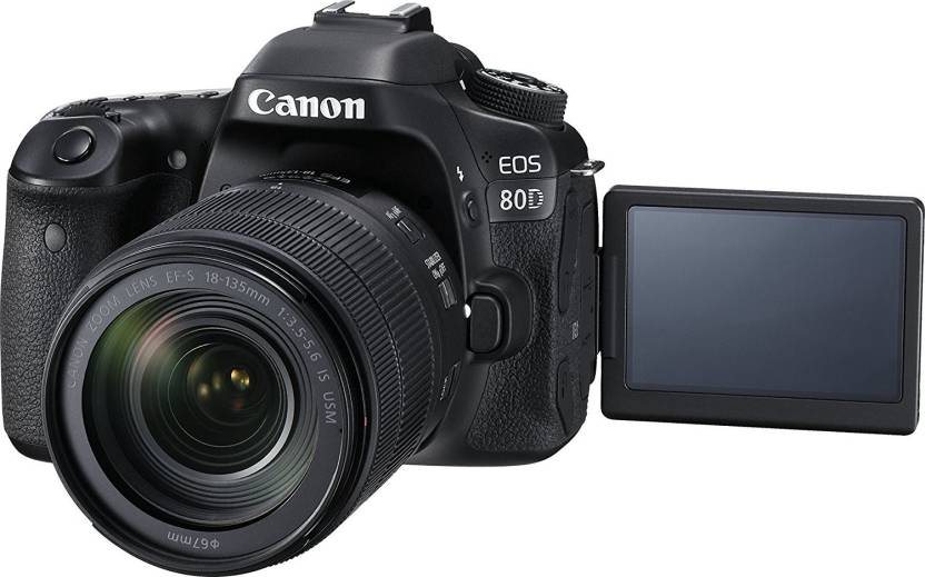 Canon EOS 80D DSLR Camera Body with Single Lens: EF-S 18-135 IS USM (16 GB SD Card) (Black)
