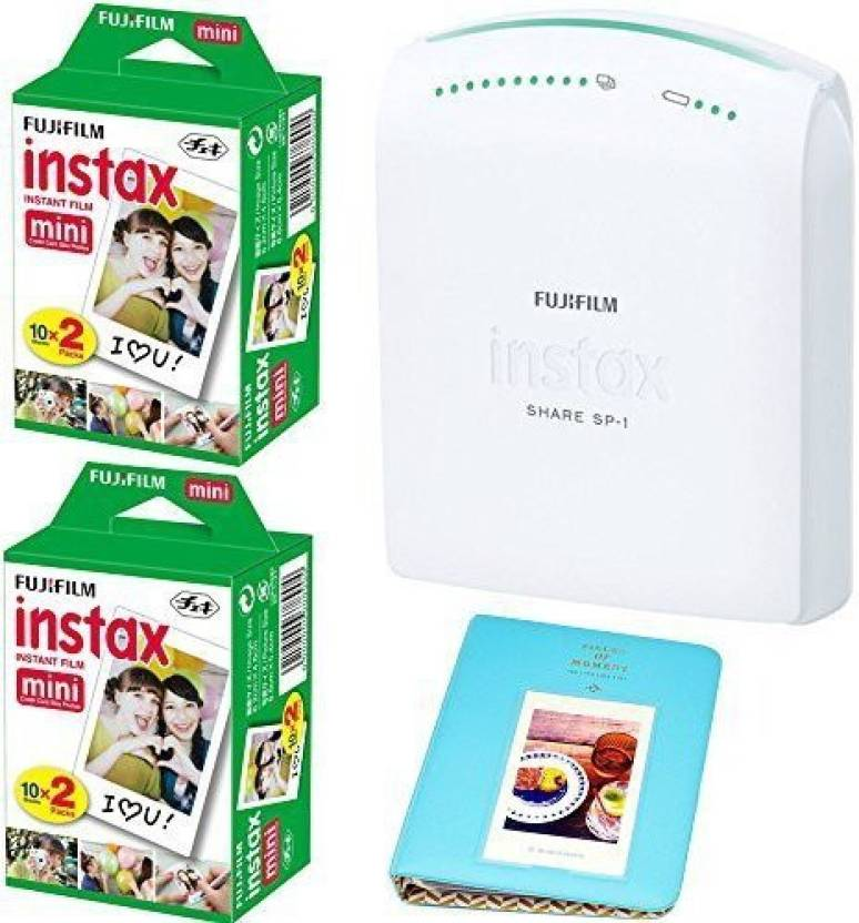Fujifilm instax SHARE Smartphone Printer SP-1 With 2x Fuji Instax Mini Twin Pack Instant Film (= 40 Shoots) +With Photo Album 64 Pockets Blue Value Set Bundle SP-1 ()