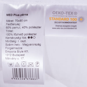 Med Plus medical pillow, washable on 95°C, with removable inner pillow, 70x90 cm