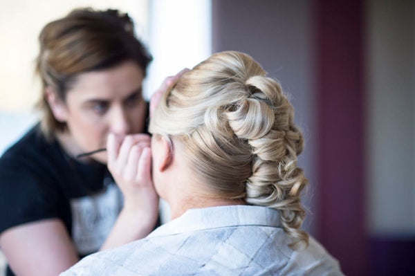 On your Wedding day, getting Bridal Makeup ready!