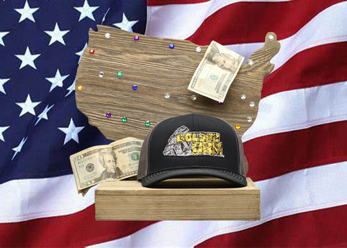 Black Hat / Grey Mesh Dollar Bill Golden Arm Logo Embroidered
