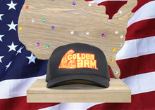Load image into Gallery viewer, Black Hat/ Black Mesh Original Golden Arm logo Embroidered Raised