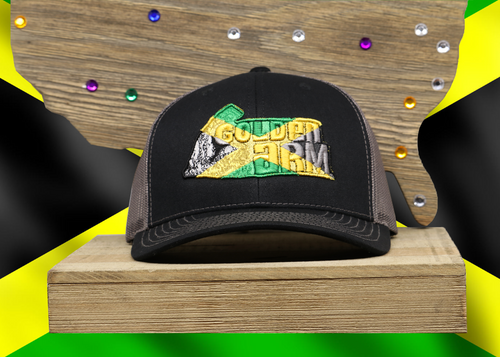 Black Hat/ Black Mesh Jamaican Golden Arm logo Embroidered Raised