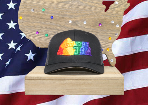 Black Hat/ Black Mesh Golden Arm Rainbow logo Embroidered Raised