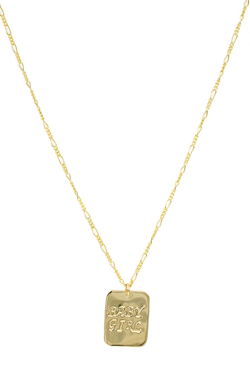 Gold Baby Girl Rectangle Necklace