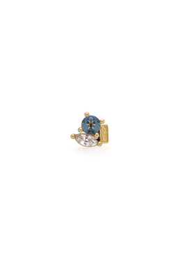 London Blue Topaz/White Sapphire High Society Stud
