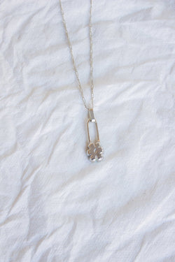 Silver Flower Pin Necklace