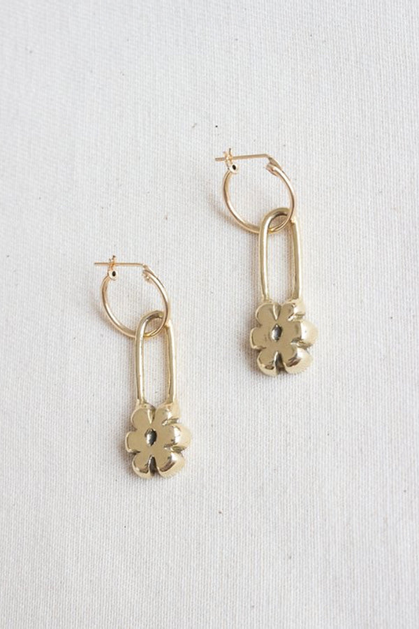 Gold Flower Pin Earrings