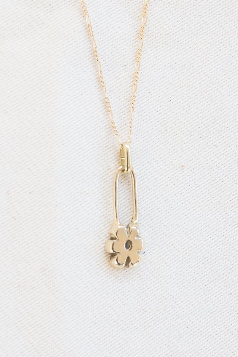 Gold Flower Pin Necklace