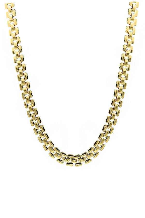Gold Brick Chain Necklace