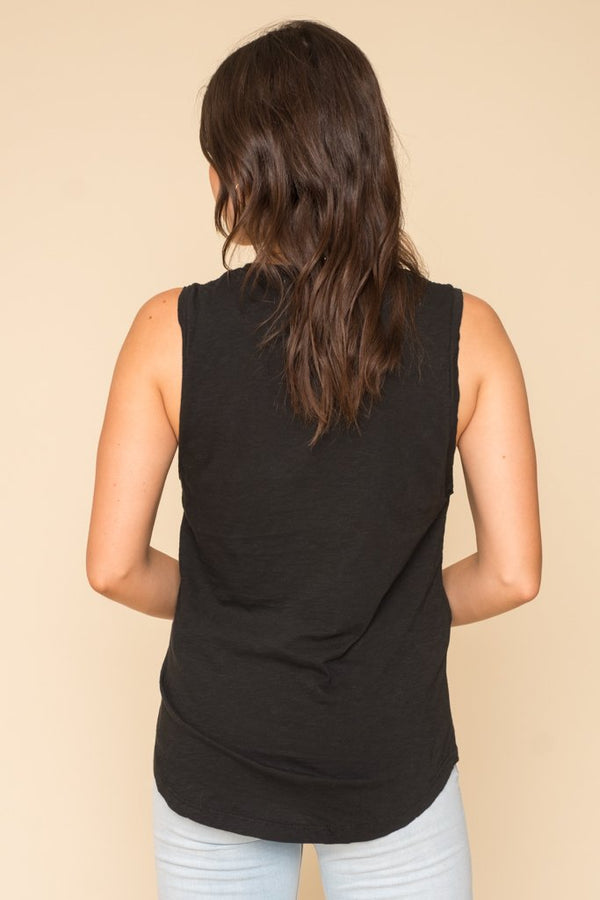 Black Deepest U Neck Tank