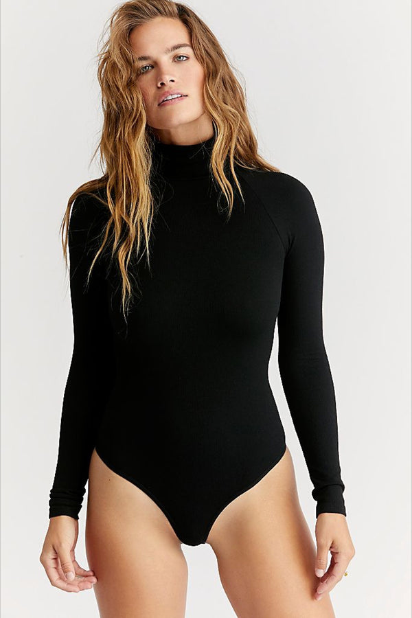 Black Seamless Turtleneck Bodysuit