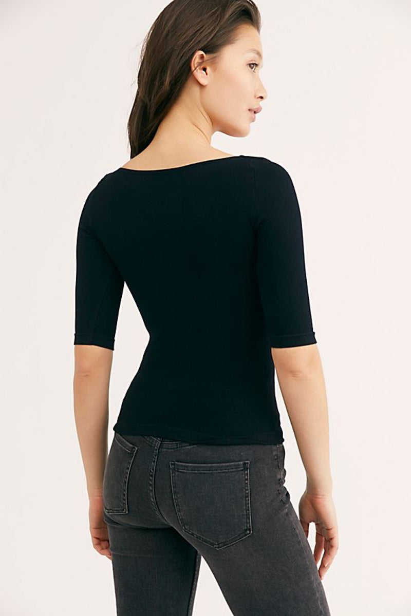 Black Square Neck Top