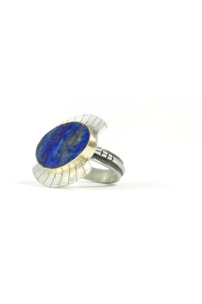 14K Gold Lapis Wide Eye Ring