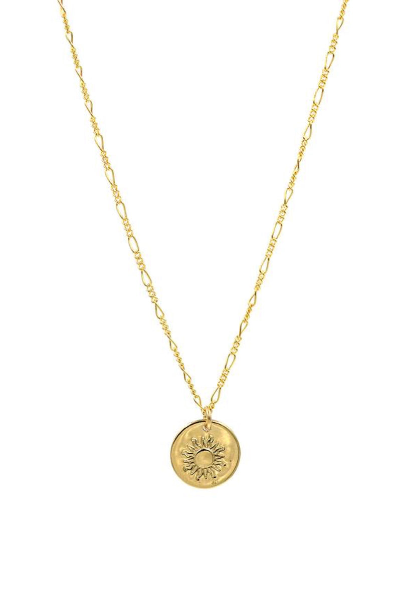 Gold 90's Sun Coin Necklace