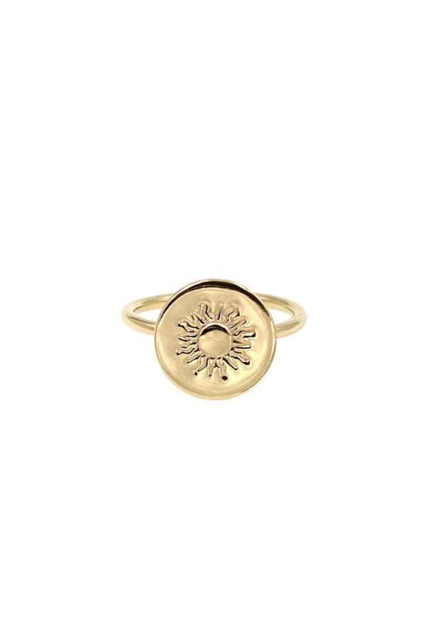 Gold 90's Sun Coin Ring