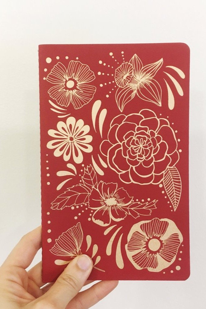 Red Flower Power Notebook