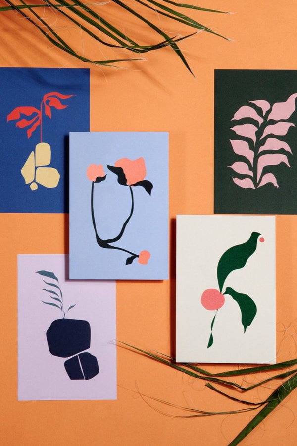 Abstract Flora Postcards