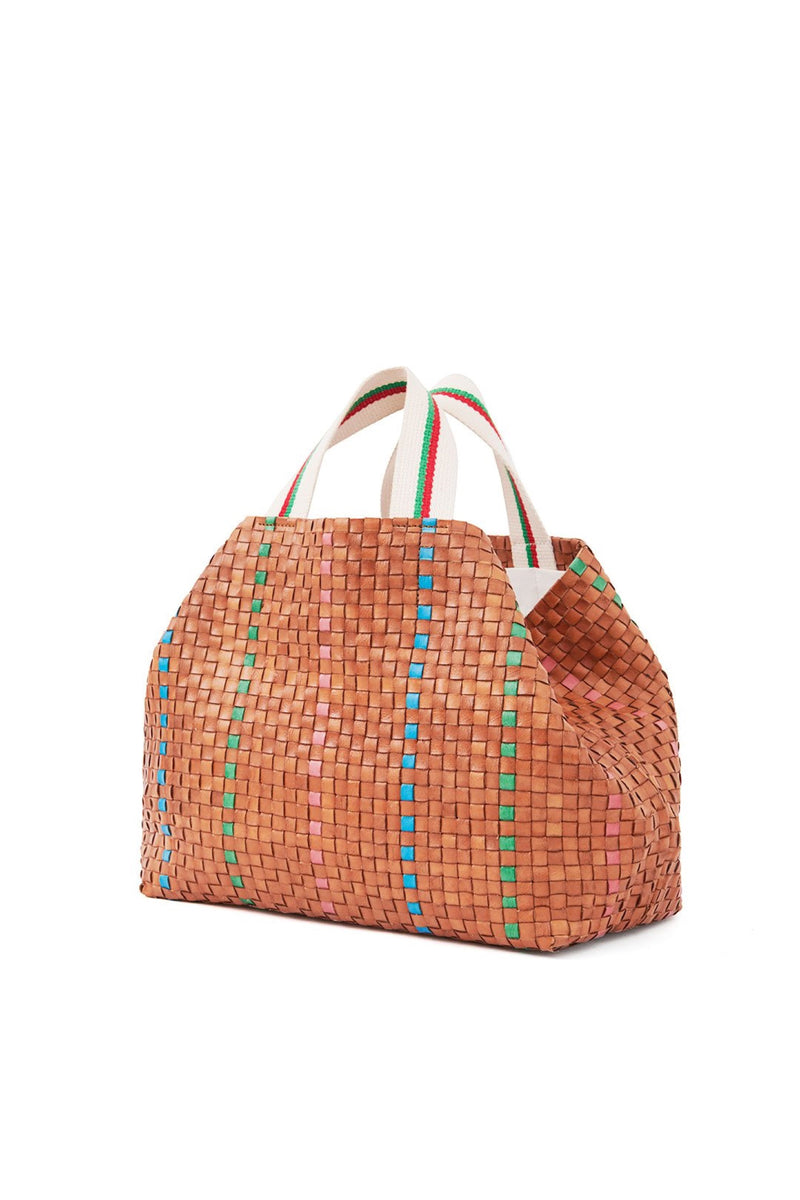Natural Checker Bateau Tote