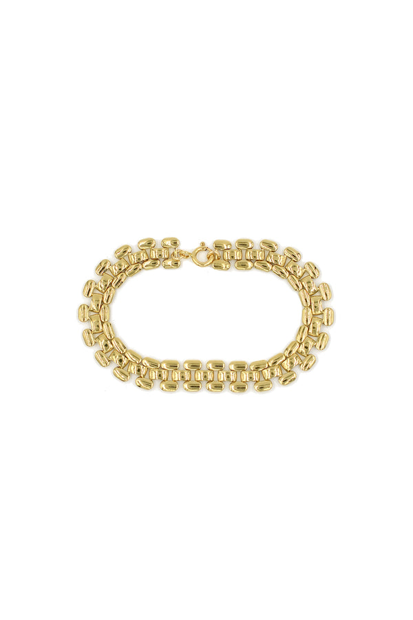 Gold Brick Chain Anklet