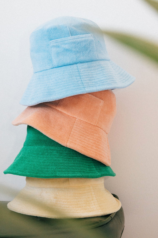 Peach Terry Wave Bucket Hat