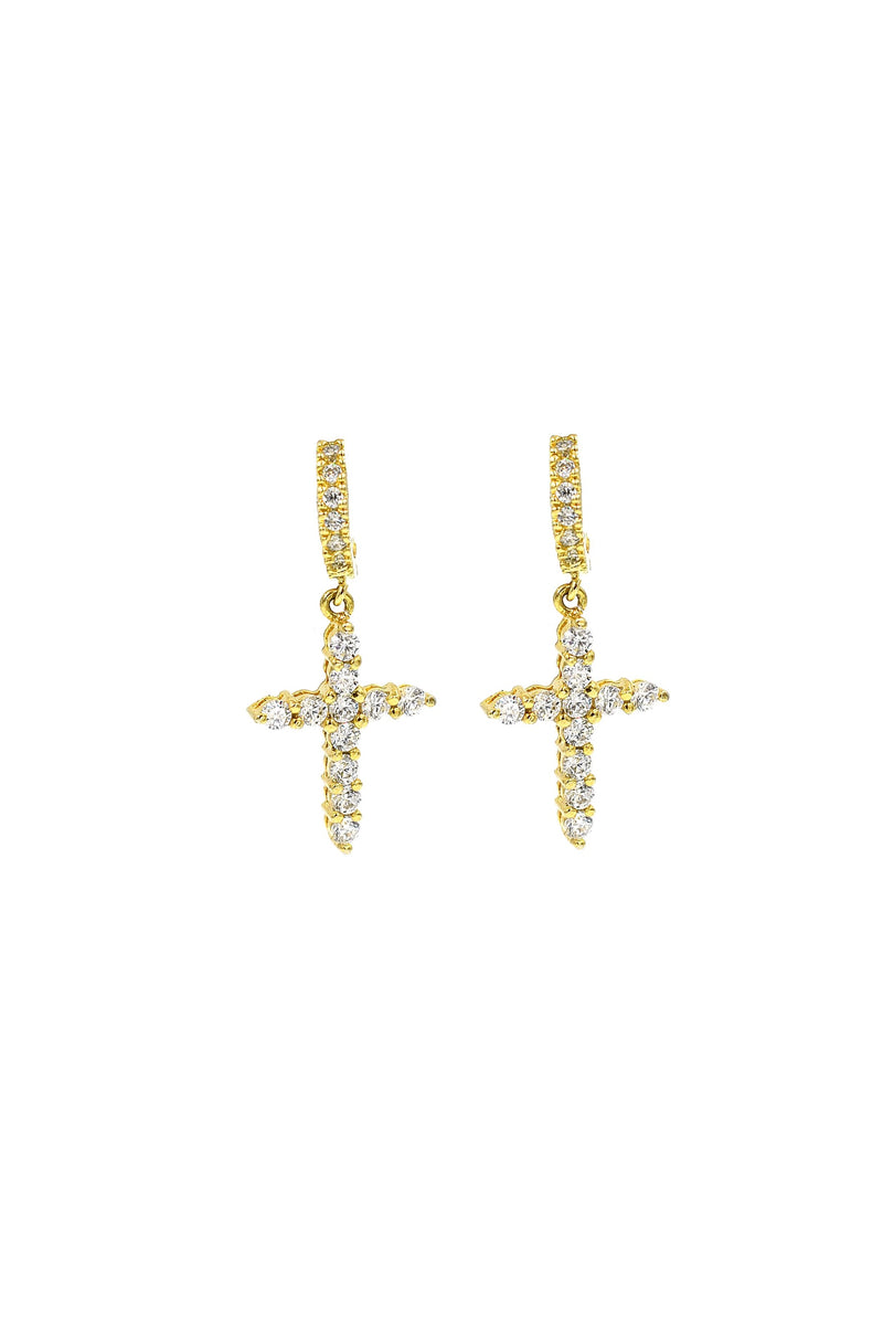 Sparkle Cross Hoops