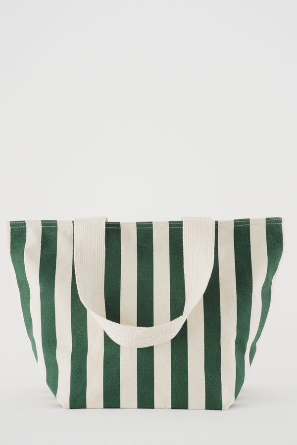 Palm Stripe Canvas Zip Tote