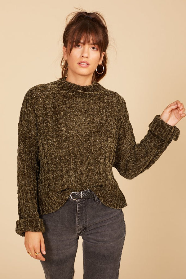 Billie Olive Crop Sweater