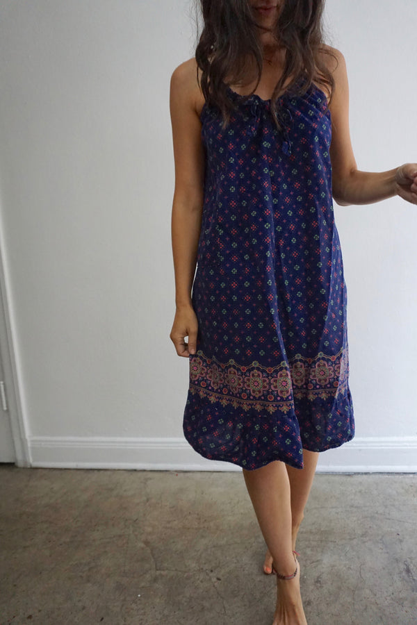 Navy Printed Sun Dress