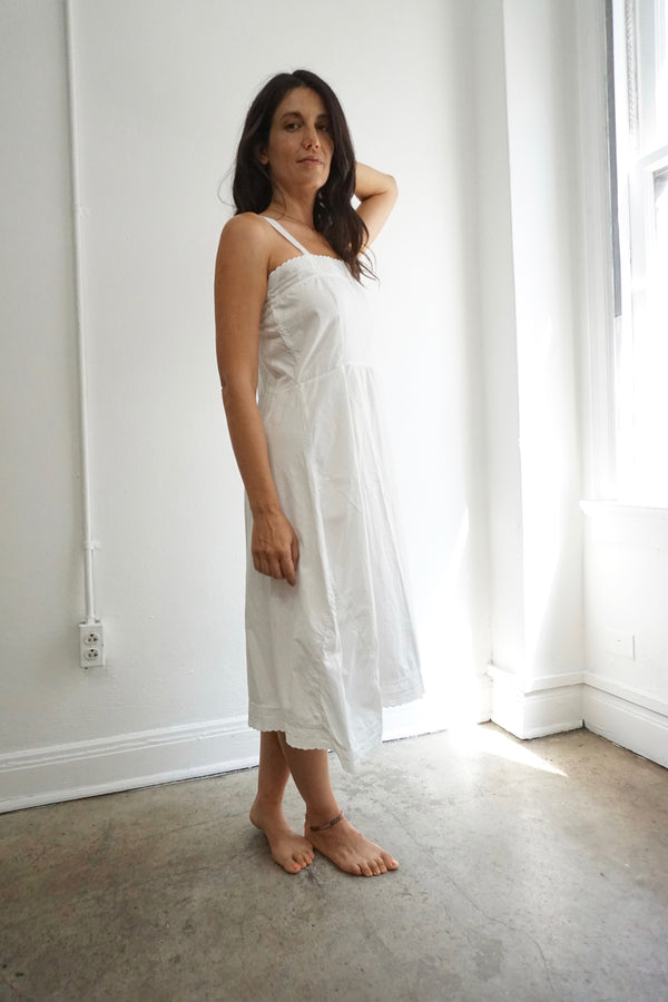 Antique White Cotton Slip Dress