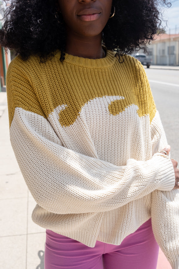 Chartreuse Wave Sweater