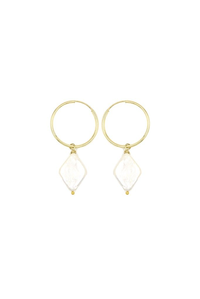 Gold Diamond Pearl Hoops